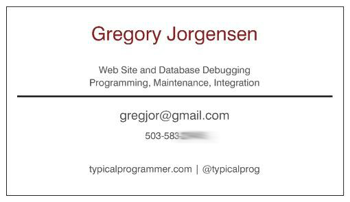 Greg Jorgensen business card